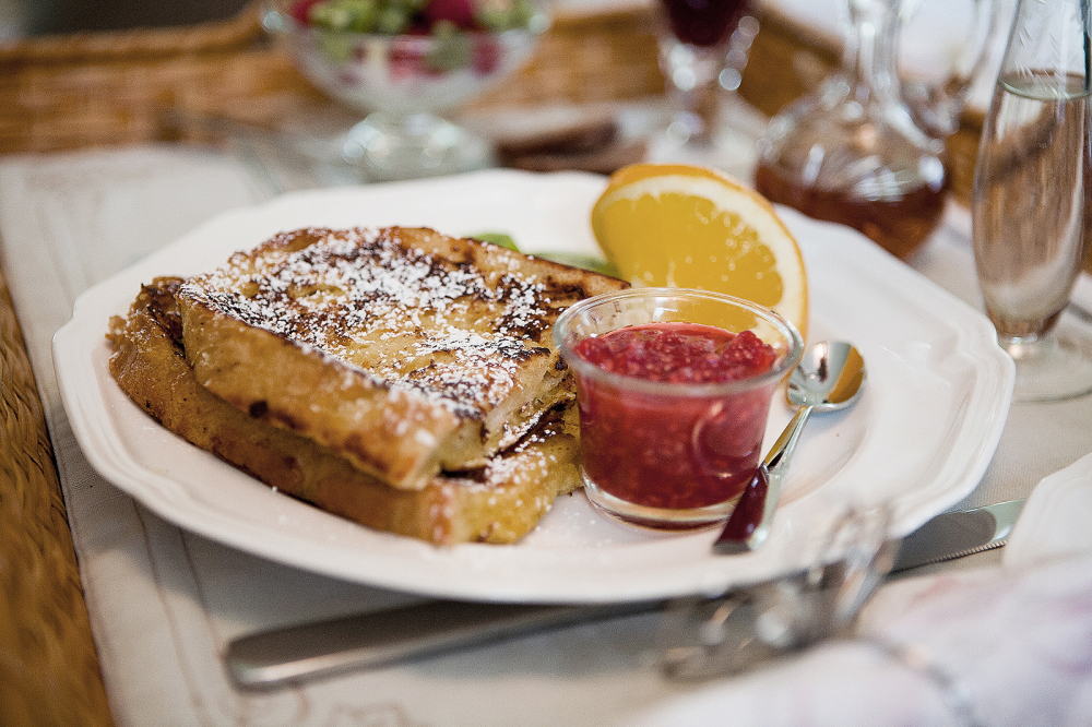 French Toast with homemade jam and fresh fruit