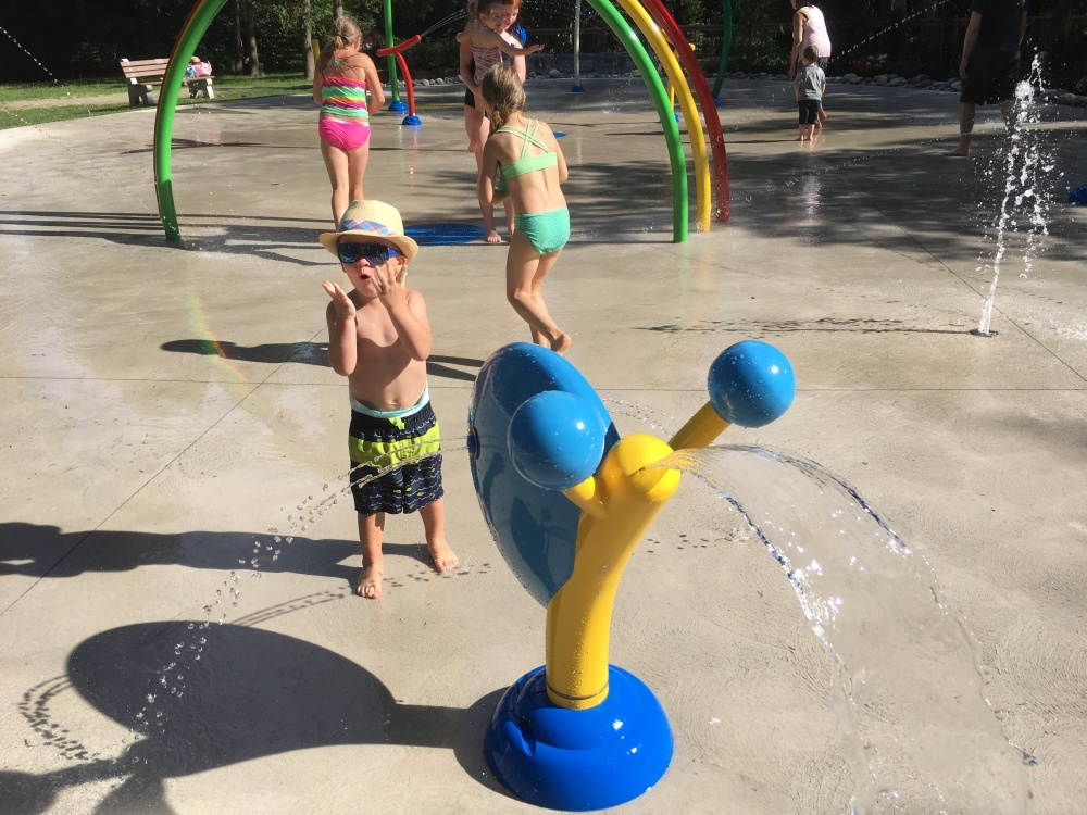 Lots of excitment at the Splash Pad