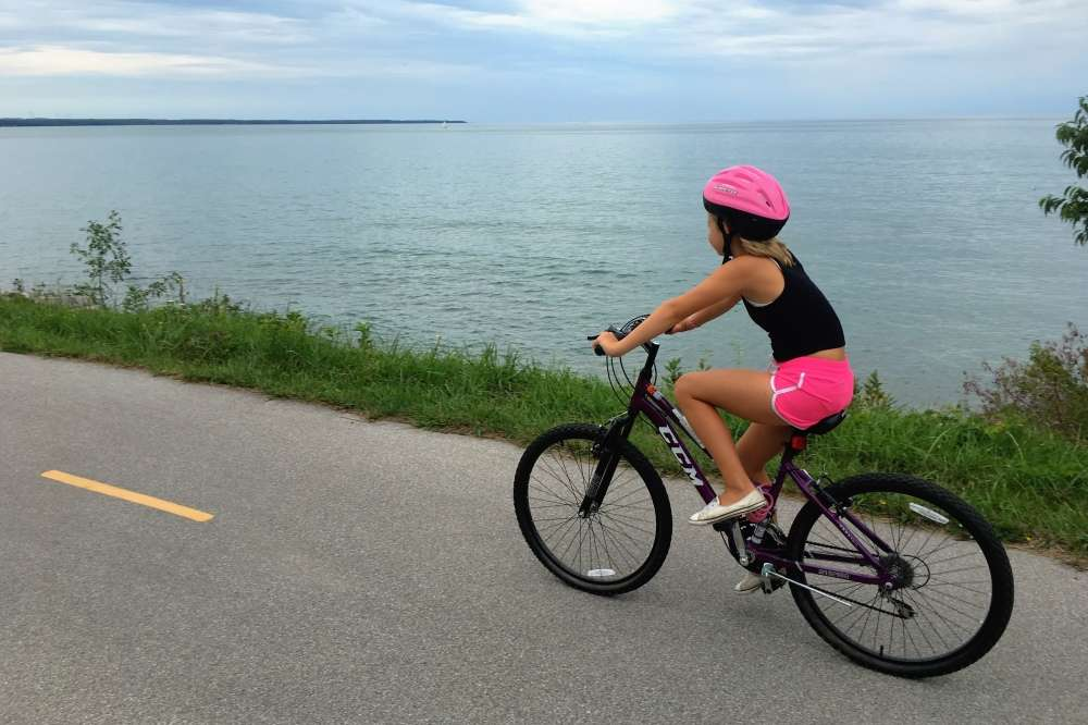 Cycling along Lake Huron